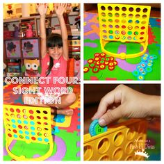 Play Connect Four as you normally would (trying to get 4 in a row) with the exception that before the child takes their turn they have to pick one of the playing pieces which are turned with the sight word stickers face down and read the sight word correctly before putting the piece into play on the game board.