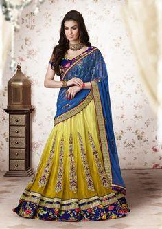 Yellow Net Wedding Lehenga Saree 61213