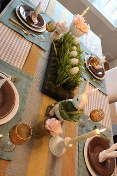 Neat Easter tablescape