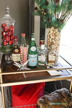 Gorgeous and festive bar cart and Christmas home tour via Life On Virginia Street!