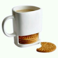 Ceramic Mug White Coffee Tea Biscuits Milk Dessert Cup Tea Cup Side Cookie Pockets Holder For Home Office Cool Mugs, Unique Coffee Mugs, I Love Coffee, Coffee Break, White Coffee, Morning Coffee, Biscuits Au Café, Cookie In A Mug, Coffee Cookies