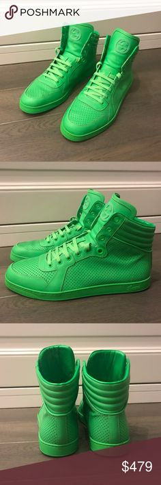 Gucci Neon Green Sneakers In a great condition. Worn couple times only. Gucci Shoes Sneakers