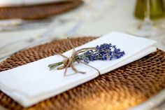 Sprigs of lavender were placed at each setting Photo byGertrude amp Mabel Venue Design Coordination amp Florals byBear Flag Farm - Project Wedding