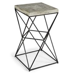 Eames Industrial Loft Metal Concrete Square End Table