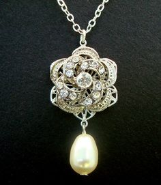 Bridal NecklaceIvory or White Teardrop PearlRose by DivineJewel, $28.00