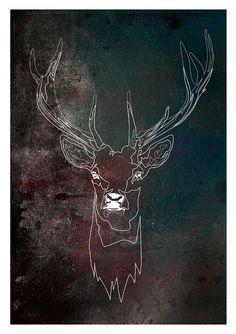 Deer Constellation starry space galaxy custom horoscope by Katlix, $29.00