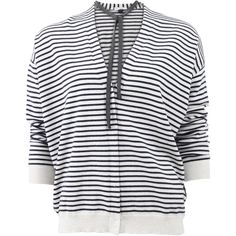 Brunello Cucinelli Striped Cardigan With Monili Neck Tie (£1,540) ❤ liked on Polyvore featuring tops, cardigans, v neck cardigan, long tops, stripe cardigan, navy striped cardigan and long navy cardigan
