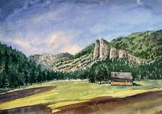 Val di Fassa Dolomites, watercolour painting by Giulia Gatti Watercolor And Ink, Watercolor Paintings, Watercolors, Landscape, Gallery, Drawings, Artist, Water Colors, Scenery