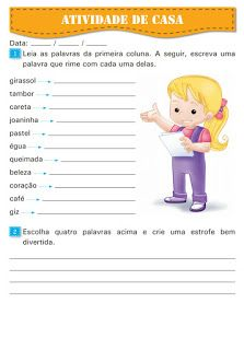 Atividades Escolares Tarefa De Casa Atividades Alfabetizacao E