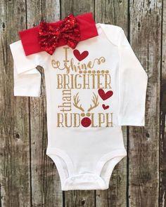 I Shine Brighter Than Rudolph Onesie Baby Girl Christmas Onesie - BellaPiccoli