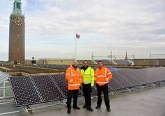 Pro Solar Power Ltd win award for their installation of solar panels on  City Hall, Norwich. Brothers, left to right Sean, Dion and Gary Gilvey of Norwich based Pro Solar Power Ltd.