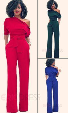 56a22b5a7e0 Ericdress Asymmetric Lace-Up Pocket Jumpsuits Pants