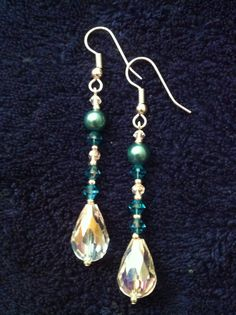 """Adi"" - After some input from my lovely Congolese friend, we settled on a bold and bright design. Swarovski crystal and pearl drop earrings with sterling silver accents."