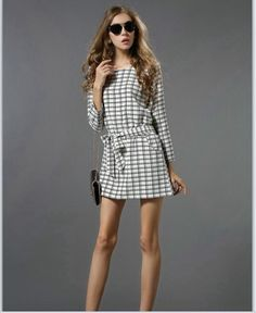 fashionlicious fashion shop online : White Grid Dress