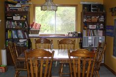 dining room table, bookcases