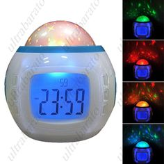 """Fashionable 2.0"""" LCD Music and Starry Sky Alarm Clock w/ Calendar/Thermometer ($12.59)"""