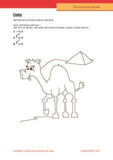 kerajinan anak, petunjuk langkah menggambar unta untuk anak SD