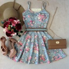 Blue and pink floral dress. Cute Dresses, Beautiful Dresses, Casual Dresses, Short Dresses, Summer Dresses, Girly Outfits, Dress Outfits, Cool Outfits, Fashion Outfits