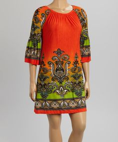 Look what I found on #zulily! Orange Suzani Ruched Flare-Sleeve Dress - Plus by R Rouge #zulilyfinds