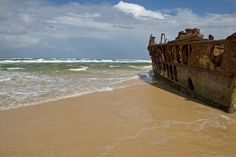 The Wreck of the SS Maheno on Fraser Island along the coast of Queensland, Australia