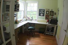 DIY Show Off vintage craft room/office Johnson bog . Vintage Craft Room, Vintage Crafts, Tiny Office, Office Desk, Corner Office, Office Spaces, Corner Desk, Large L Shaped Desk, Fixer Upper