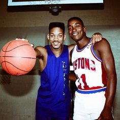 Deux des plus grosses légendes du basket des 90's #willsmith #freshprince #belair #isiahthomas #detroit #Pistons #badboys #chicagosfinest #philly #legends #basketball #hoopculture