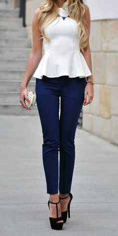 Love the top. Pair with black pants and black and white shoes with a print? Minus the high heels and replace with flats.