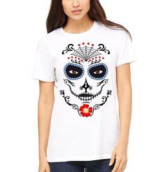 19592091f Day of the dead Unisex T-Shirt, Mexican Holiday Calavera, Flowers Dia De  Los Muertos, Sugar Skull T-Shirt, crew neck, Que Viva La catrina