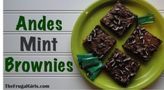 Andes Mint Brownies Recipe! ~ from TheFrugalGirls.com {Whip up these tasty little treats in a flash!  This easy recipe is a family favorite!} #thefrugalgirls