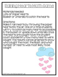 Book Extension: The Day it Rained Hearts... by Family and Child Development Lab-Becky Cothern | Teachers Pay Teachers