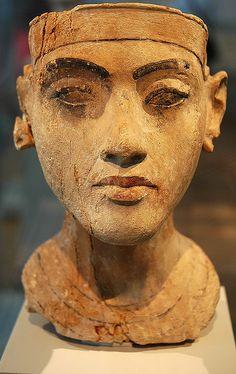 Egyptian pharaoh Akhenaten as a youth bust. Museum Berlin