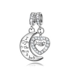 NinaQueen® **Mom I Love You to the moonandback**925 Sterling Silver Prime Day Lightning Deal Cubic Zirconia Dangle Heart Charms Fits Pandora Bracelets *Ideal Gift For your mother,wife and your friends* >>> To view further for this item, visit the image link. (This is an affiliate link and I receive a commission for the sales)