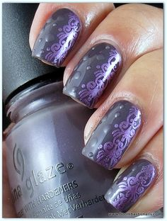 China Glaze Jungle Queen stamping polish China Glaze Harmony stamping plate A60,  Kleancolor Madly Matte topcoat for the dots.