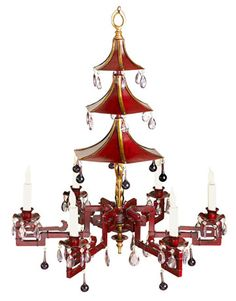 Fabulous chinoiserie chandelier with a 3-tiered pagoda hung with bells. Awesome red....this is fun!