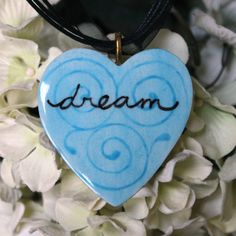 Hand Painted Heart Handmade Ceramic Pendant  by ChironCreations, $14.95