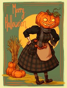 Wishing you all a merry, spooky one 🌾🎃✨ | Bree Paulsen Halloween Painting, Spooky Halloween, Vintage Halloween, Halloween Illustration, Illustration Art, Character Inspiration, Character Design, Halloween Pictures, Dnd Characters