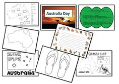 This Packet was created to use for Australia Day celebrations in Australia.  It includes:  • A Theme colouring or title page  • A states and capital city labeling/mapping activity.  • An Australian flag to colour and attach to a wooden skewer.  • A creative writing page with Aussie themed border.  A Thong...