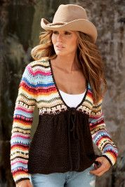 Boston Proper Hand Crochet Cozy Sweater Sweater in vivid stripes with button and tie front; solid bodice has a slimming effect. Brown on bottom and multi color top. Crochet Bolero, Gilet Crochet, Crochet Cozy, Crochet Blouse, Hand Crochet, Crochet Fall, Crochet Crafts, Moda Crochet, Chevron Crochet