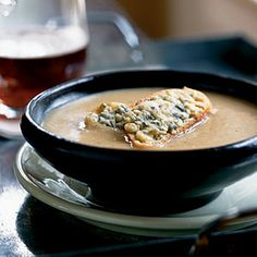 101 Healthy Soup Recipes | Roasted Garlic and Shallot Potato Soup with Cheesy Croutons | CookingLight.com