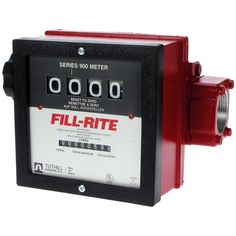 "Fill-Rite 1½"" Flow Meter with Pulser  4 Digit flow meter with pulser. 1 1/2"" BSPF ports. 25-150L/min. 4 digit register, 8 digit non-resettable totaliser. 10:1 pulser fitted.  • Only suitable for use with diesel or biodiesel up to B30. • Robust nutating disc flow meter shows up to 9999 litres. • 11/2"" BSPF ports. Max. pressure 50 psi (3.5 bar). • Accuracy of +/- 2% with adjustable calibration. Buna-N seals. • Aluminium housing. Nickel plated version available."