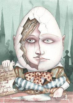 Alice Inside Humpty Dumpty by Dominic Murphy Alice And Wonderland Quotes, Adventures In Wonderland, Alice In Wonderland Steampunk, Painting The Roses Red, Dark Fairytale, Humpty Dumpty, Lewis Carroll, Art For Art Sake, Graphic Illustration