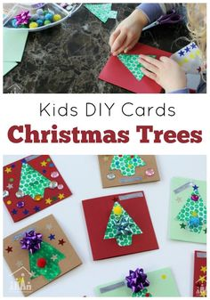 Kids DIY Cards. Sit down with your kids and create these fun Christmas Tree cards. Can you guess what we used to create the texture on our tree? We used Bubble Wrap! Then added on lots of stars and pom-poms to decorate.