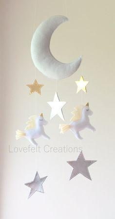 Baby mobile Moon mobile unicorn mobile Crib by LoveFeltXoXo