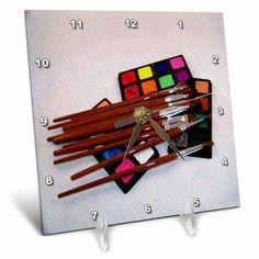 3dRose Watercolor Art Set Oil Painting, Desk Clock, 6 by 6-inch