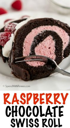 Raspberry Chocolate Swiss Roll – Spend With Pennies Show your loved ones how much you care about them this Valentine's Day with this decadent yet simple to make Raspberry Chocolate Swiss Roll. Raspberry Desserts, Raspberry Chocolate, Just Desserts, Delicious Desserts, Italian Desserts, Chocolate Swiss Roll Recipe, Chocolate Roll Cake, Chocolate Desserts, German Chocolate