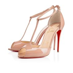 """No shoe is more flirtatious than the open toe T-strap pump.  Monsieur Louboutin puts his signature on this classic silhouette this season with """"Senora.""""  In alluring nude patent leather, this 100mm beauty sets the tone for your evening ensembles."""