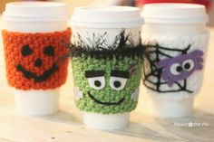 Celebrate Halloween with a fun crocheted coffee cup cozy! I like to think of this as a little treat for the adults. Now my pumpkin spice latte will have its own pumpkin cozy 🙂 Of course, you can use the basic cozy pattern to make a plain cozy or you can embellish/personalize however you'd like! …