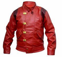 Men's Fashion Akira Kaneda Real Leather Jacket Red at Amazon Men's Clothing store: