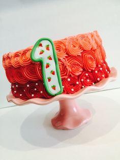 Smash cake. Strawberry shortcake theme.