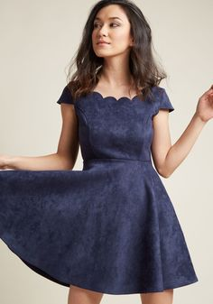 Faux-Suede Skater Dress with Scalloped Neckline | ModCloth